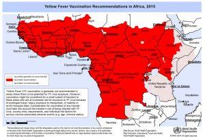 2015年黄熱病ワクチン推奨国 アフリカ