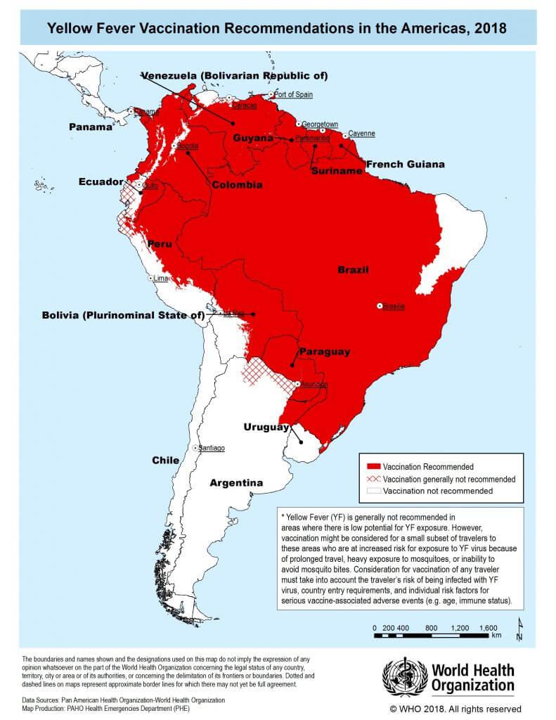 2018年 黄熱病ワクチン推奨国 南米